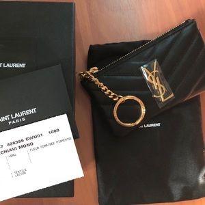 Saint Laurent Monogram Leather Key Pouch